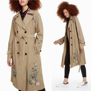Desigual NEW Trench Coat Floral Embroidery 6 Beige Embroidered